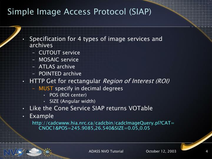 Simple Image Access Protocol (SIAP)