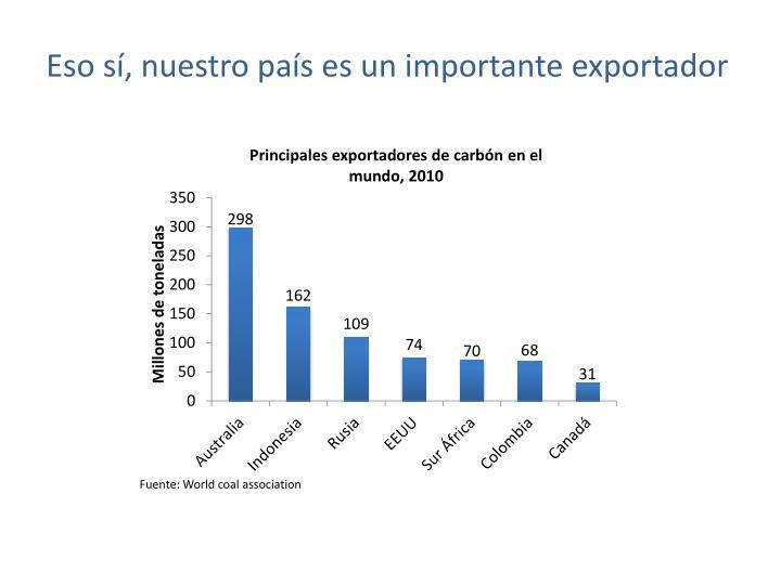 Eso sí, nuestro país es un importante exportador