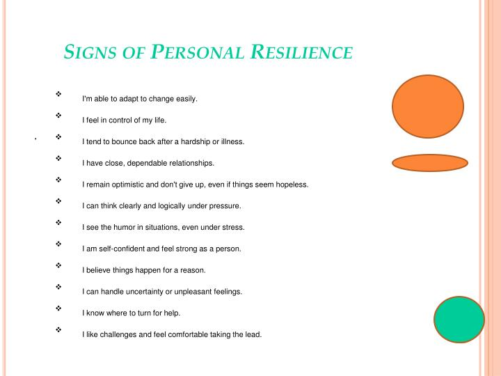 Signs of Personal Resilience