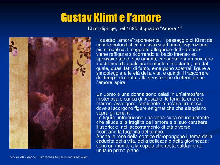 "Klimt dipinge, nel 1895, il quadro ""Amore 1"""