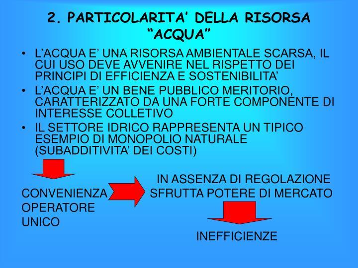 """2. PARTICOLARITA' DELLA RISORSA """"ACQUA"""""""