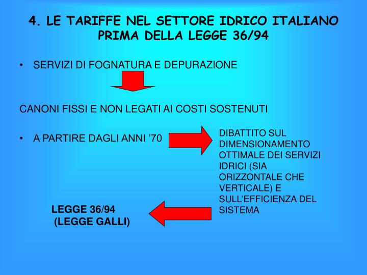 4. LE TARIFFE NEL SETTORE IDRICO ITALIANO PRIMA DELLA LEGGE 36/94