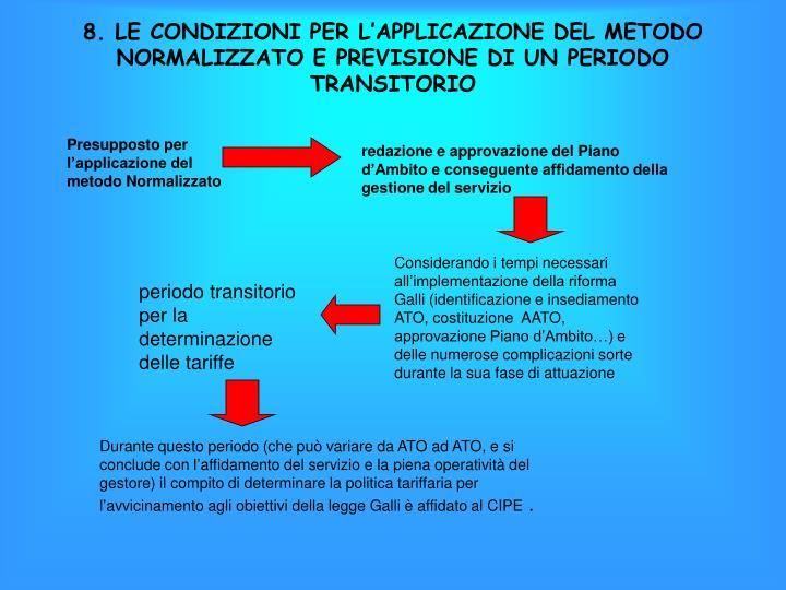 8. LE CONDIZIONI PER L'APPLICAZIONE DEL METODO