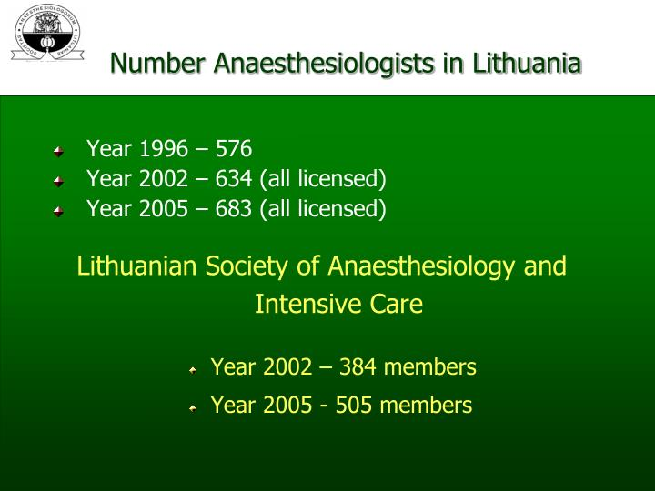 Number Anaesthesiologists in Lithuania