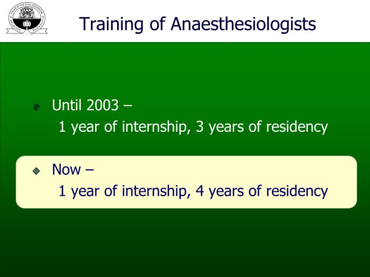 Training of Anaesthesiologists