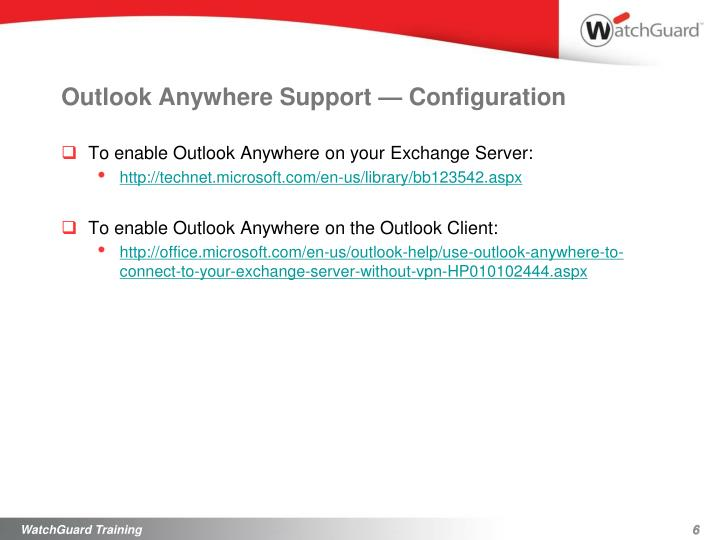 Outlook Anywhere Support