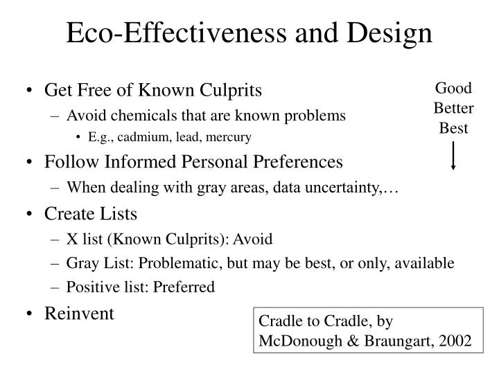 Eco-Effectiveness and Design