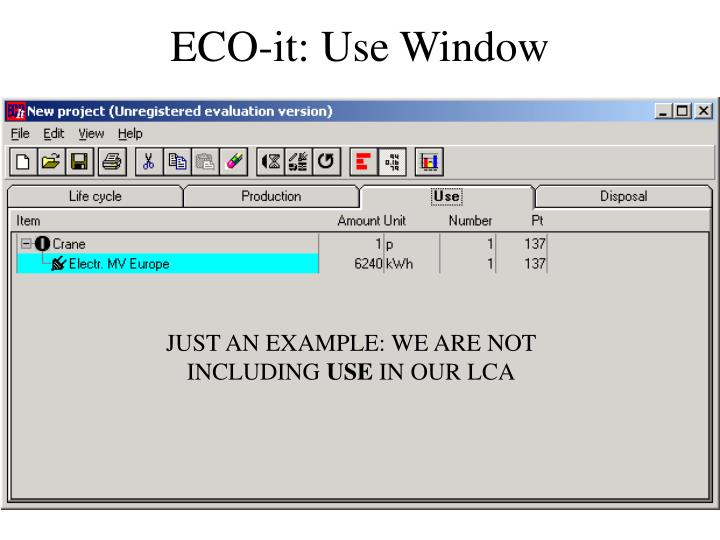 ECO-it: Use Window