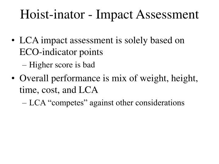 Hoist-inator - Impact Assessment