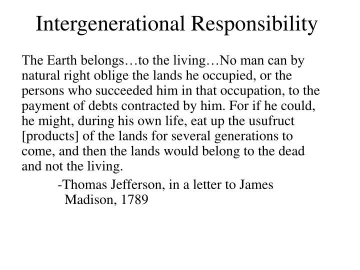 Intergenerational Responsibility