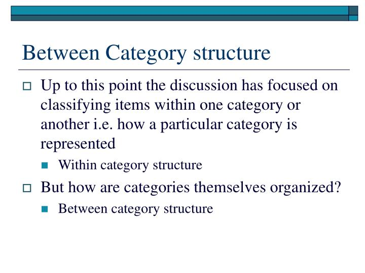 Between Category structure