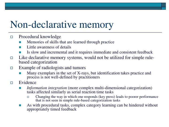 Non-declarative memory