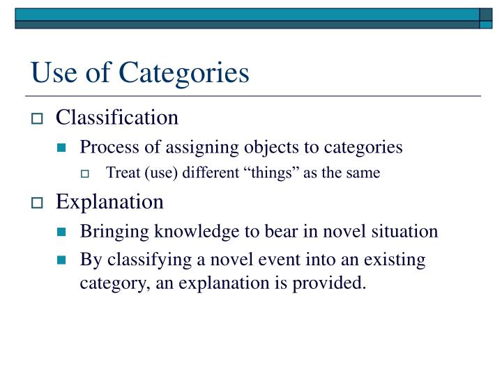 Use of Categories