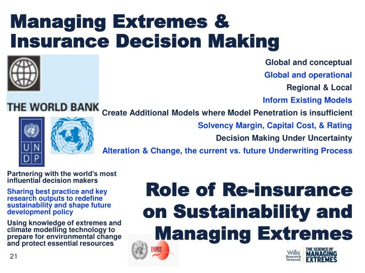 Managing Extremes & Insurance Decision Making