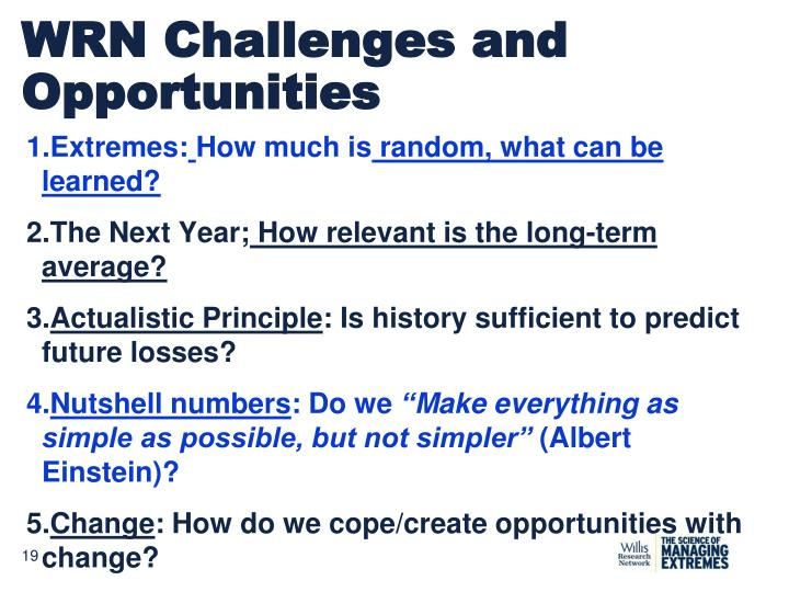 WRN Challenges and Opportunities