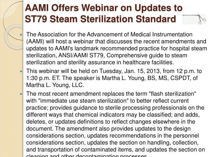 AAMI Offers Webinar on Updates to ST79 Steam Sterilization Standard