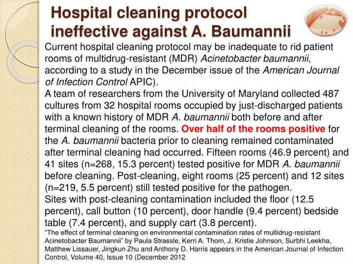 Hospital cleaning protocol ineffective against a baumannii