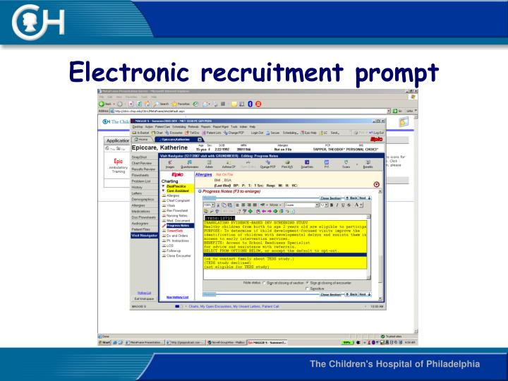 Electronic recruitment prompt