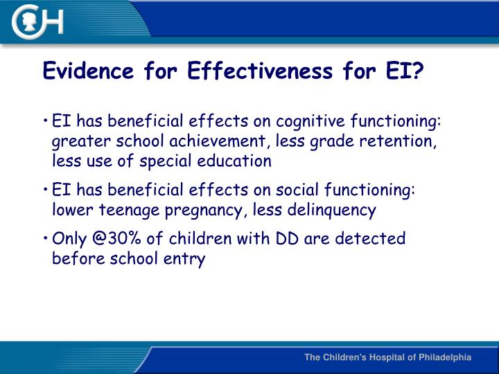 Evidence for Effectiveness for EI?