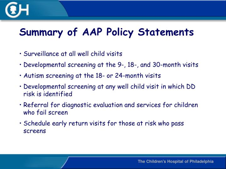 Summary of AAP Policy Statements