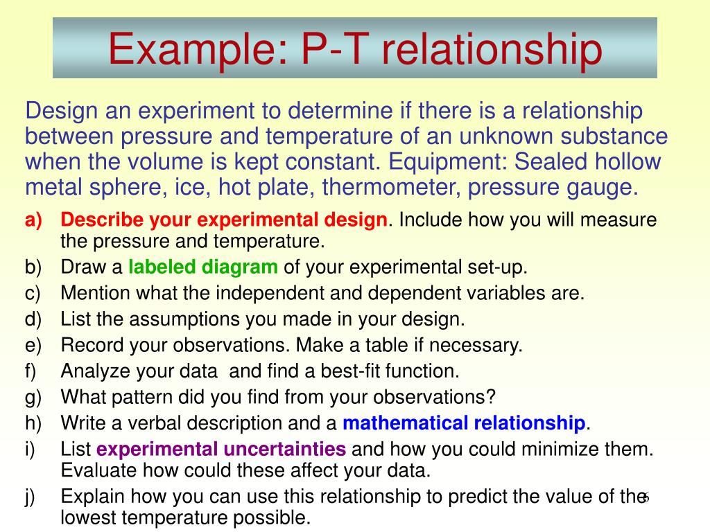 Example: P-T relationship