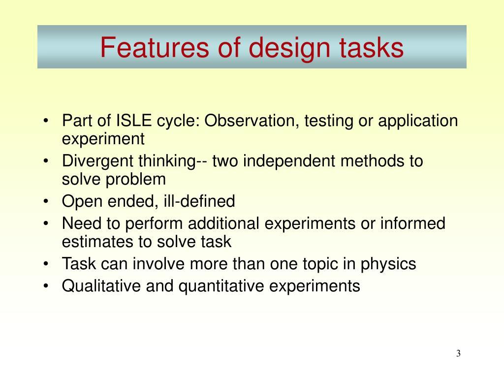 Features of design tasks