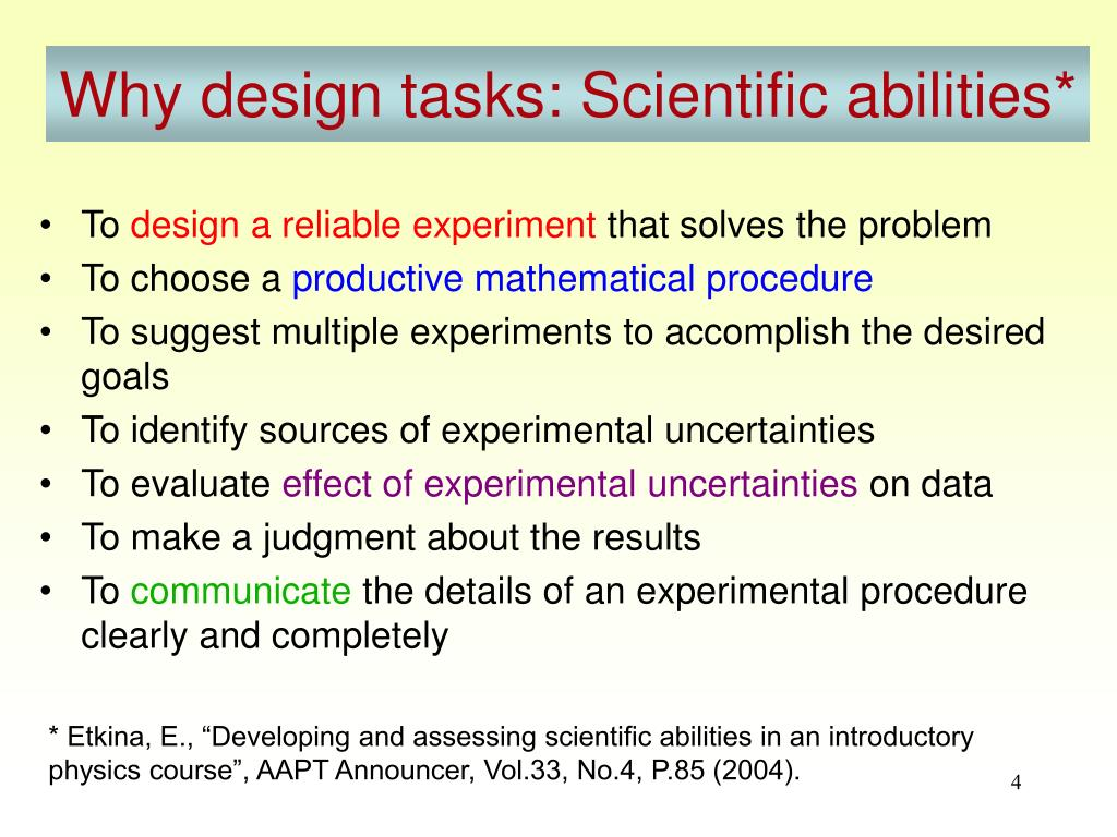 Why design tasks: Scientific abilities*