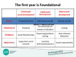 the first year is foundational