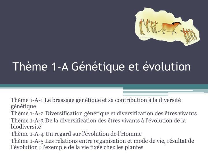 Thème 1-A Génétique et évolution