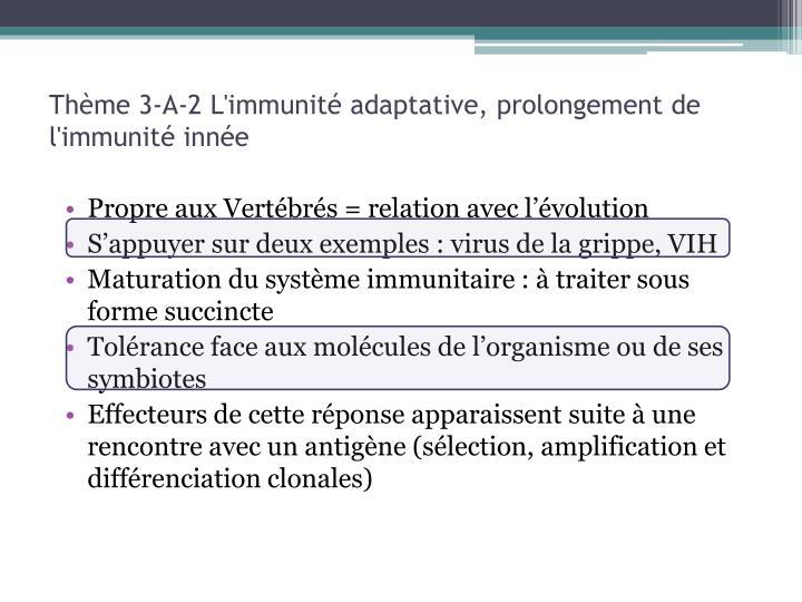 Thème 3-A-2 L'immunité adaptative, prolongement de l'immunité innée