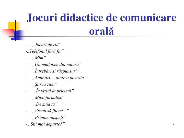 Jocuri didactice de comunicare orală
