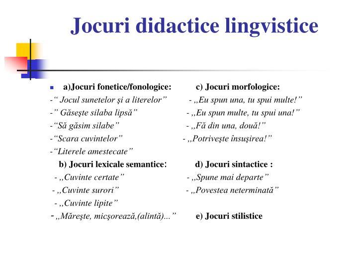 Jocuri didactice lingvistice