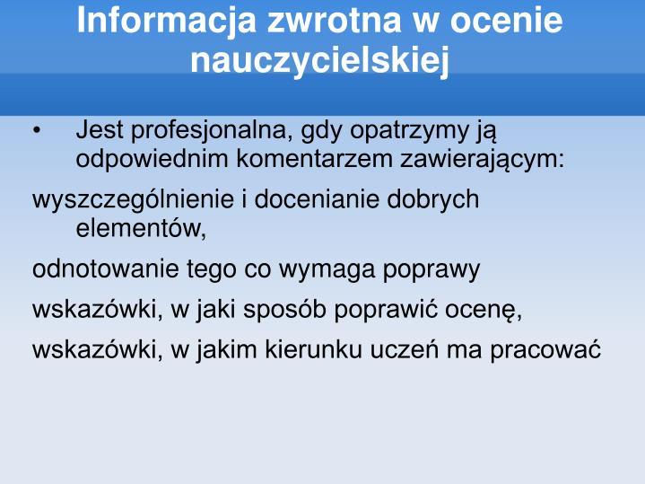 Informacja zwrotna w ocenie nauczycielskiej