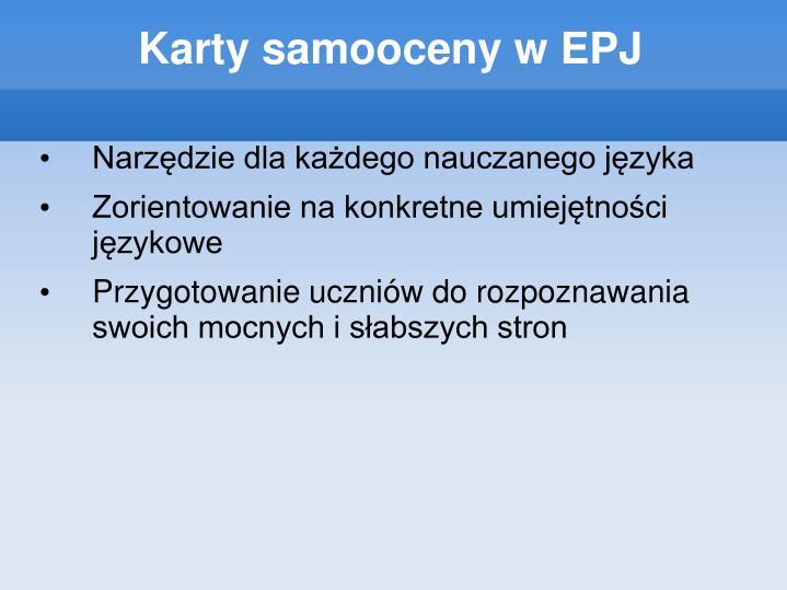 Karty samooceny w EPJ