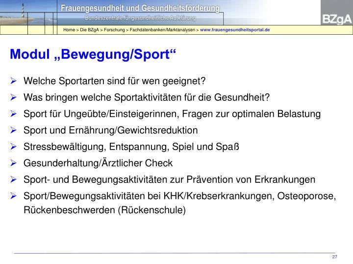 """Modul """"Bewegung/Sport"""""""