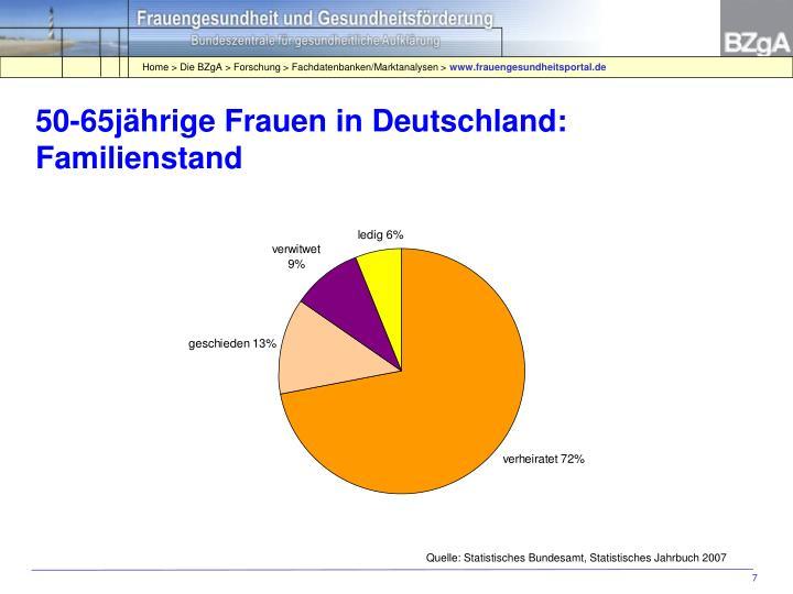 50-65jährige Frauen in Deutschland: Familienstand