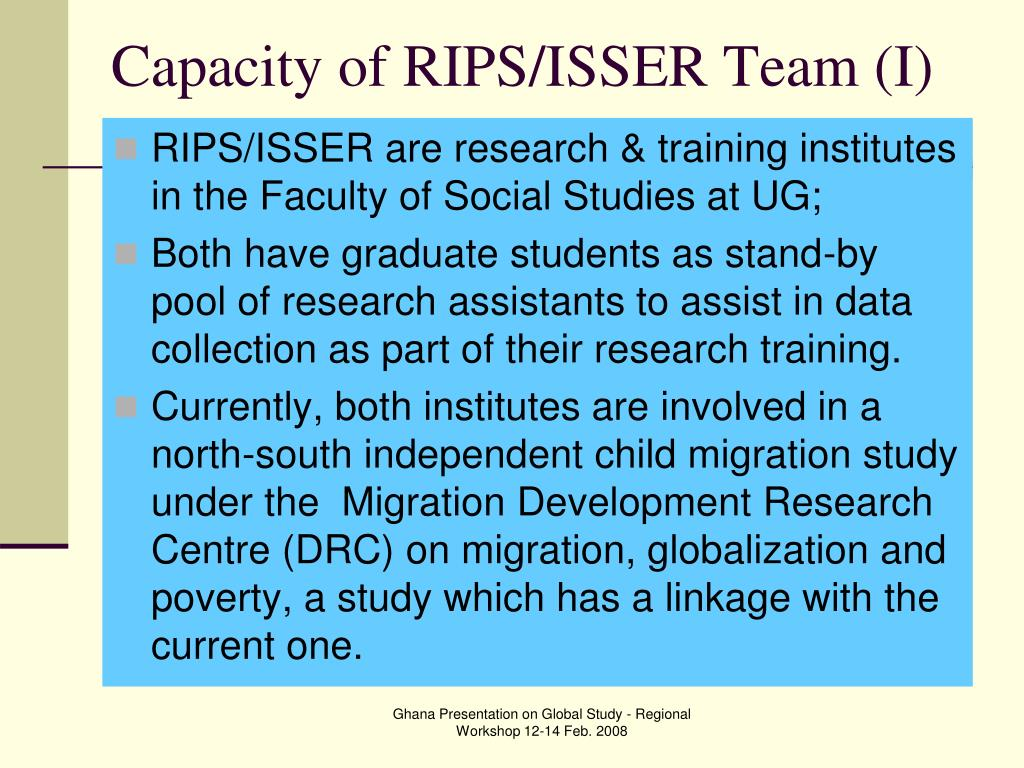 Capacity of RIPS/ISSER Team (I)