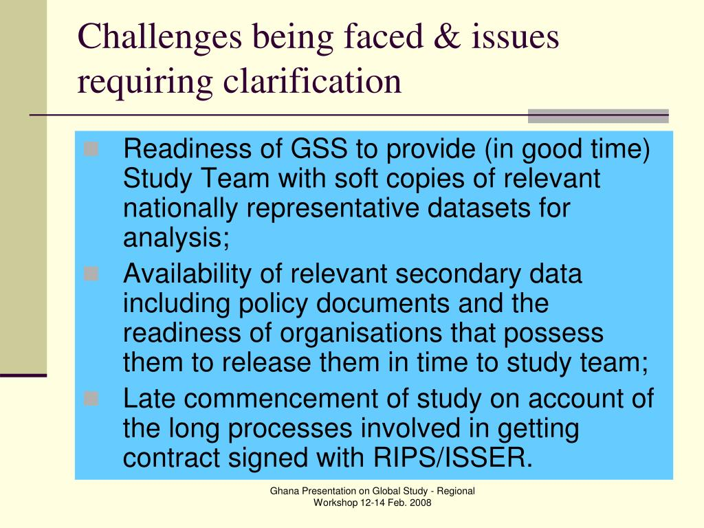 Challenges being faced & issues requiring clarification