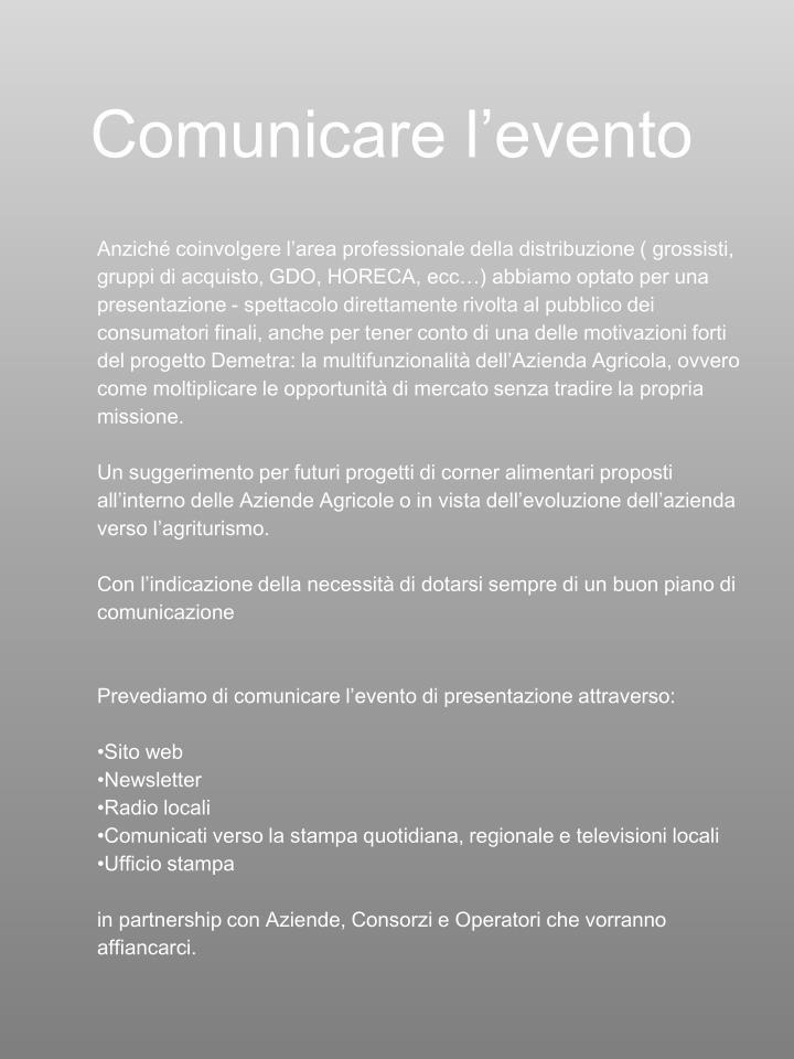 Comunicare l'evento