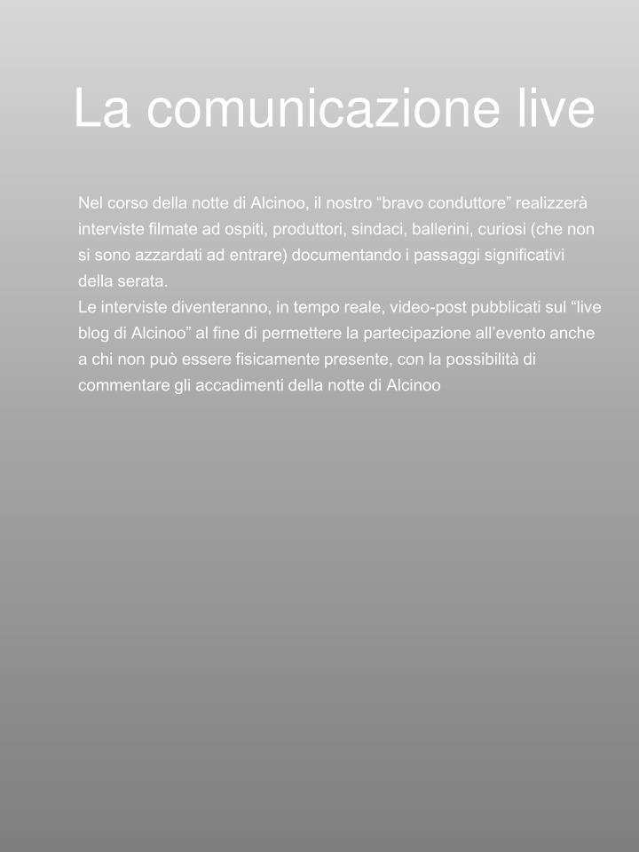 La comunicazione live