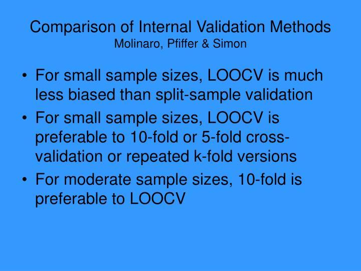 Comparison of Internal Validation Methods