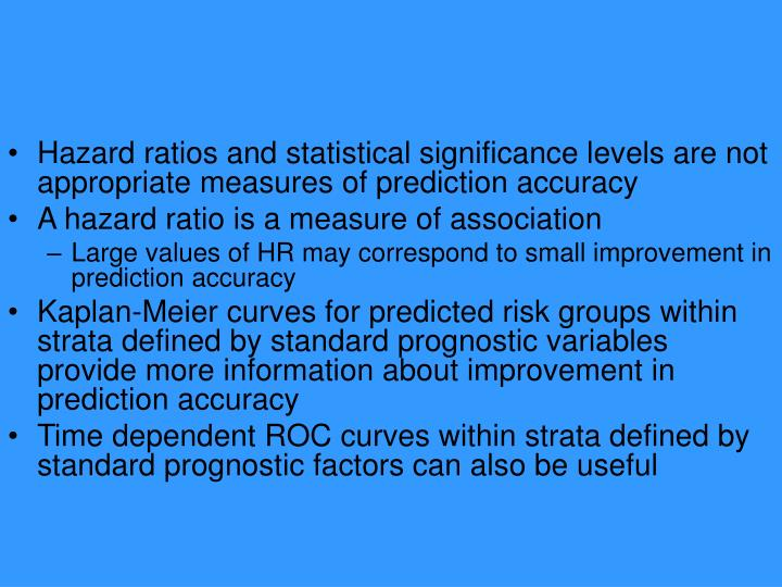 Hazard ratios and statistical significance levels are not appropriate measures of prediction accuracy