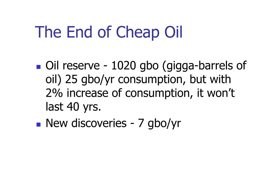 The End of Cheap Oil