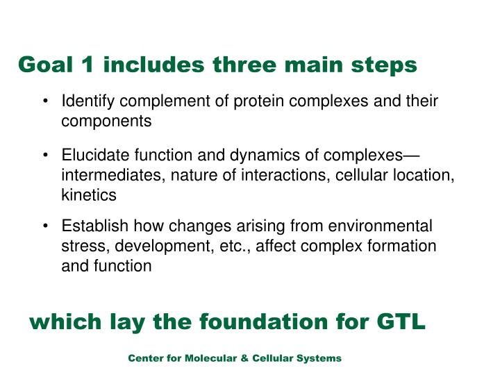 Goal 1 includes three main steps