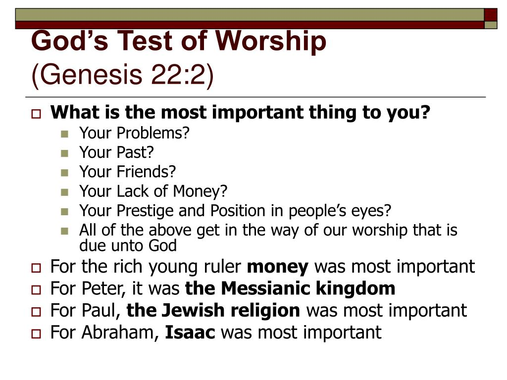 God's Test of Worship
