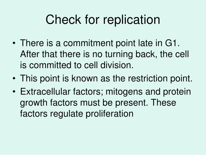 Check for replication