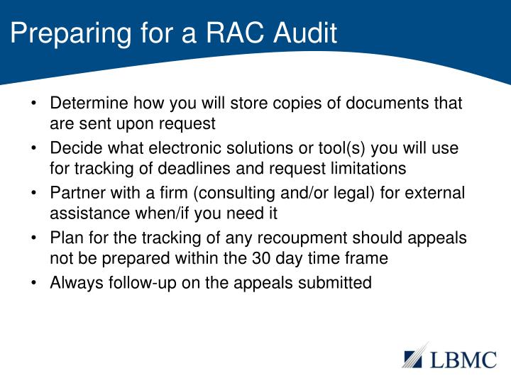 Preparing for a RAC Audit