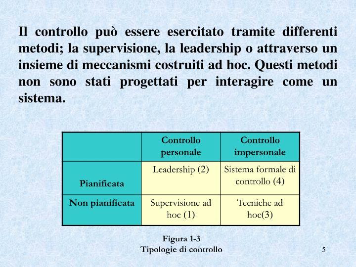 Il controllo può essere esercitato tramite differenti metodi; la supervisione, la leadership o attraverso un insieme di meccanismi costruiti ad hoc. Questi metodi non sono stati progettati per interagire come un sistema.