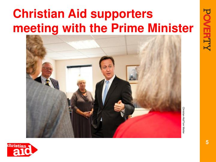 Christian Aid supporters meeting with the Prime Minister