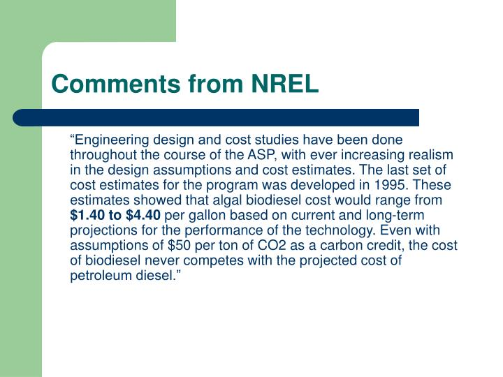 Comments from NREL